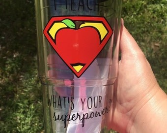 I teach. What's Your Superpower? Personalized Teacher Gift-Double-Wall Insulated Travel Tumbler Cup