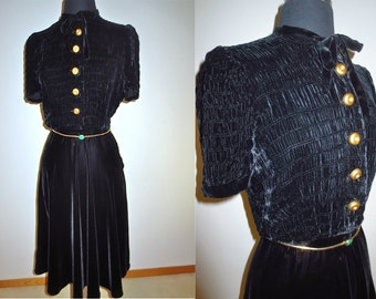 1940's  Black Silk Velvet Short Sleeved Little Black Dress with Ruched Gathered Bodice, Chunky Gold Buttons