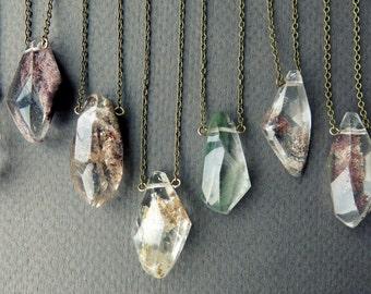 Garden Quartz Necklace - Quartz Crystal Necklace - Healing Crystal Pendant - Boho Layering Necklace - Lodolite Phantom Quartz Pendant
