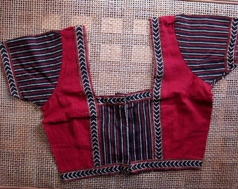 Ethnic Choli - Red Black Stripes with square back