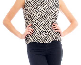 1960s Geometric Beaded Top Size: M