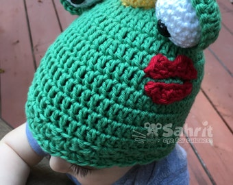 PATTERN Instant Download Frog Prince Hat Newborn to Toddler Sizes baby Crochet Beanie Costume Photo Prop