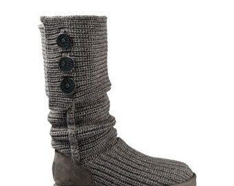 UGGs Classic Tall Cardy Knit Cable Crochet w/ Swarovski Crystal Bling Black Gray Boots Winter GlassSlippers Shoes Dynamite Rhinestone Ladies
