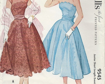UNCUT Vintage 1950's Dress Sewing Pattern McCall's 9545