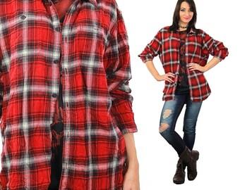 Red Flannel shirt Lumberjack Vintage 1990s Plaid grunge long sleeve button up shirt tartan checkered top Extra Large
