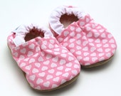 SALE - faux suede only // heart baby shoes valentines day girl shoes baby girl shoes heart booties pink valentines booties pink and white