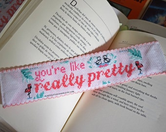 """DIY Cross Stitch Bookmark Kit """"You're Like, Really Pretty"""". Mean Girls Inspired Pink Cross Stitch."""
