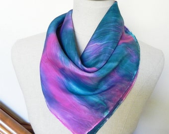 """Hand painted square silk scarf Painted by hand in teal  magenta and purple 21"""" Square silk scarf is ready to ship Silk scarf #503"""