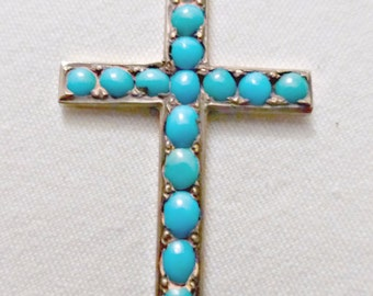 Vintage Silver And Genuine Persian Turquoise Stone Cross Pendant With Chain