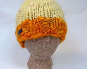 Sunshine or Chicken -- warm and stylish, hand-knit, 100% wool hat