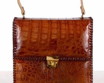 1950s Vintage Women's Brown Leather Purse