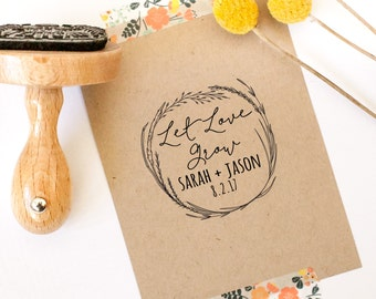 Let Love Grow Stamp, Wedding Favor Stamp, Thank You Stamp, Circle Stamp, Personalized Wedding Stamp, Floral, Wreath, Seed Stamp, Seed Favor