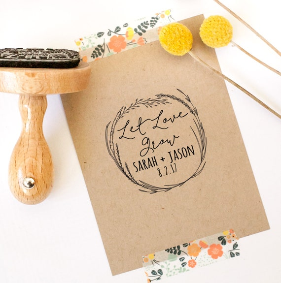 Let love grow stamp wedding favor stamp thank you stamp circle