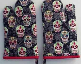 Oven Mitt, Sugar Skull, Day of the Dead, Chef Cookware, Kitchen Mitts, Modern, Hipster, Gypsy, Kitchen Mitt