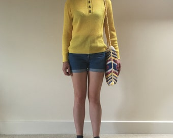 Vintage 1970s Bright Yellow Ribbed Polo Neck Pullover/ Jumper by Snia Velicren with Buttons