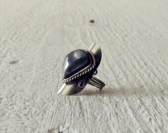 Black Tiger Eye Ring/Black Natural Stone Ring/Silver Ring/Bohemian Ring/Boho/Western Ring/Gypsy Ring/Indie Ring/Ethnic Ring/Tribal Ring