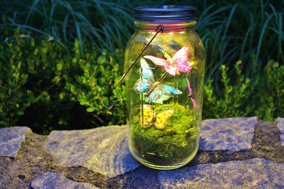 Butterfly lantern large mason jar by