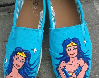 Hand Painted Wonder Woman Shoes, Superhero Sneakers, Women's Canvas Flat Shoes, Size 9, Womens Shoes, Girls Shoes, Painted Shoes