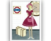 """Wall Art - Girl Print - Travel - London Underground - Pink and White Home Decor - 5"""" X 7"""" Print - Gift For Her - 'Pimlico Girl'"""