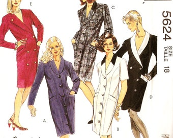 McCall's 5624 Misses' Retro 1990s Single or Double Breasted Coat Dress Sewing Pattern Sz 18