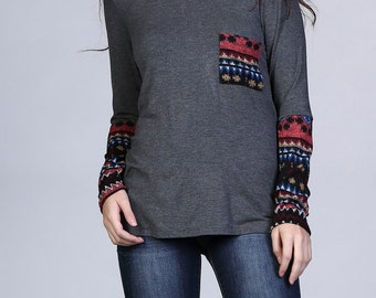Long Sleeve Top with Back Cross
