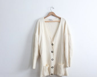 Minimal Oversized Cream Cardigan Sweater