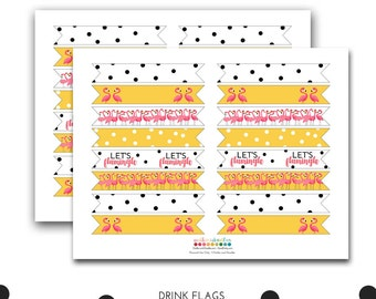 Let's Flamingle Drink Flags, Flamingle Party, Flamingos, Flamingo Party, Let's Flamingle Party Decorations, Printable Drink Flags