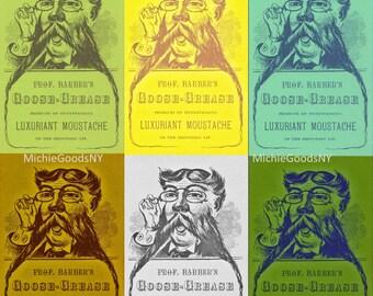 Professor Barber's Goose Grease Luxuriant Moustache Digital Postcard Download 6 Images and 1 Back of Postcard Printable 600 dpi