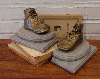 Vintage Baby Shoe / Bronzed Baby Shoes / Nursery Bookends / Baby Shoe Bookends / Nursery Decor