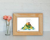 I Lava You Volcano Watercolour Print, I Love You, Anniversary, Valentine's Day, Birthday Gift Print