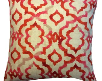 KELLY RIPA DESIGNER Fabric.  Red, Pink and Beige Print Decorative Pillow Cover.