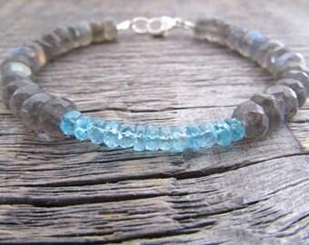 labradorite & apatite bracelet, labradorite bracelet, apatite gemstone bracelet, healing bracelet, bead stack bracelet, chakra bracelet