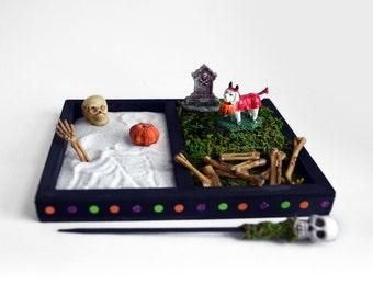 Mini Zen Garden // Halloween Decoration // Dog Lover Gift // Desk Accessory / Skeleton Bones Skull Tombstone / DIY Kit / Office Fairy Garden