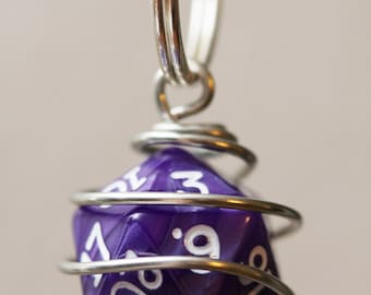 Wire Wrapped Gamer Dice Keychain, Caged Gamer Dice Key Chain, Caged D&D Dice, Dice Charm, Dice Keychain, Dice Zipper Pull, Dice Bag Charm