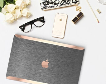 Brushed Steel Macbook Case and Rose Gold Edge Detailing Hard Case for Apple Macbook Air , Macbook 12 , Macbook Pro Touch - Platinum Edition