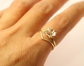 Herkimer Diamond Ring, 14k Diamond Ring, 14k V Ring, 14k Engagement ring, 14k Promise Ring, Raw Herkimer Diamond Ring, 14k Wedding Ring