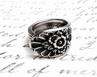 Vintage Silver Spoon Ring circa 1953 - Handmade Spoon Jewelry - Silverware Jewelry - Upcycled Jewelry