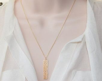 Gold Rectangle Necklace, Gold Jewelry, Layering Jewelry, Simple Jewelry