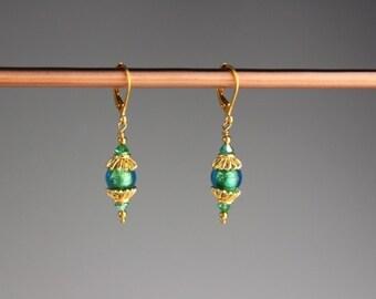 """Venetian Murano glass Earrings - Venetian glass, gold earrings, Teal earrings, Holiday jewelry, gift for her- green earrings - """" Ella Green"""""""