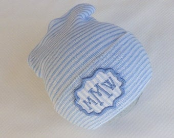 Baby Boy Coming Home. Hospital Hat. Newborn Hospital Beanie. Monogram Newborn Hat. Newborn Boy Coming Home