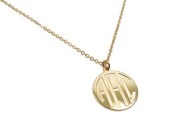 "Monogram pendant. Initials Necklace. 0.8"" Personalized necklace. Monogram jewelry. Gold coin necklace. Monogram"