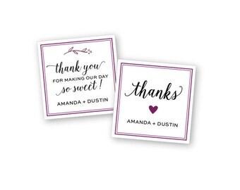 Square Custom Wedding Stickers / Favor Bags / Personalized Stickers / Wedding Favor / Cookie Bags / Custom Stickers / Personalized Stickers