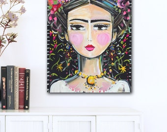 Frida Kahlo Painting, roses, pretty, portrait painting on canvas, folk art style
