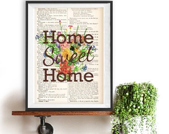 Home sweet home print Typographic Print quote decor typography art Minimalist Poster Wall Décor Home Décor vintage Christmas Gift