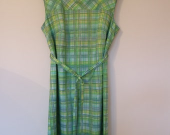 Vintage 1960's Green Checked Dress by Philip Kunick
