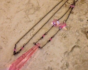 Pretty in Pink Upcycled Chandelier Crystal Necklace