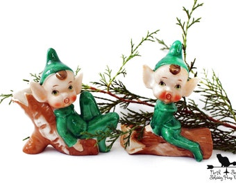 Vintage Elves, Green Porcelain Pixie,  Nostalgic Leprechaun Collectible, Holiday Figurine 204B