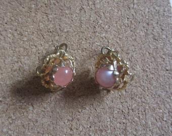 1950s pink moonstone earrings