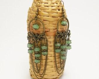 Renaissance earrings for her jade earrings exotic jewelry chain jewelry chain earrings extra long earrings chandelier earring tribal jewelry