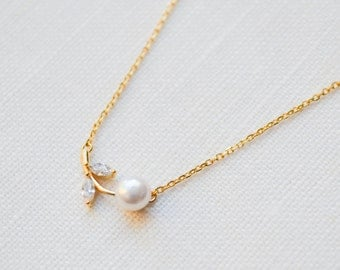 Pearl Leaf Branch Dainty Necklace | Pearl Necklace | Diamond Necklace | Minimalist Necklace